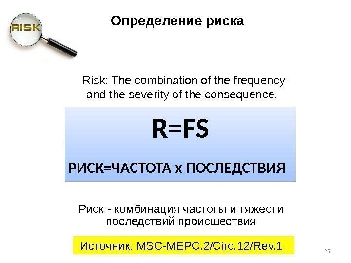 Risk: The combination of the frequency and the severity of the consequence.  Риск