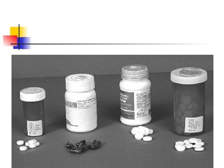 Drugs used to treat TB disease. From left to right isoniazid, rifampin, pyrazinamide, and