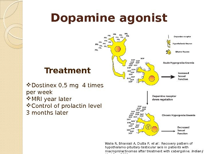 Dopamine agonist Treatment Dostinex 0, 5 mg 4 times per week MRI year