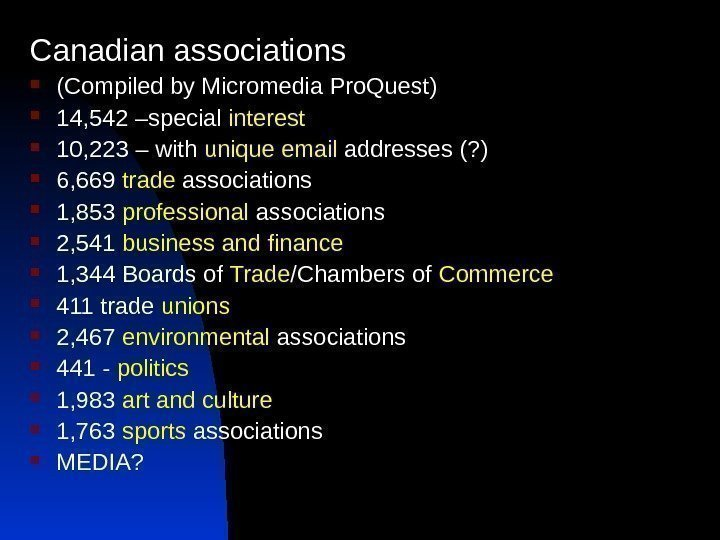 Canadian associations (Compiled by Micromedia Pro. Quest) 14, 542 –special interest 10, 223 –