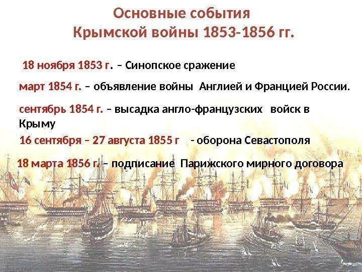 С крымской войной 1853 1856 связаны события