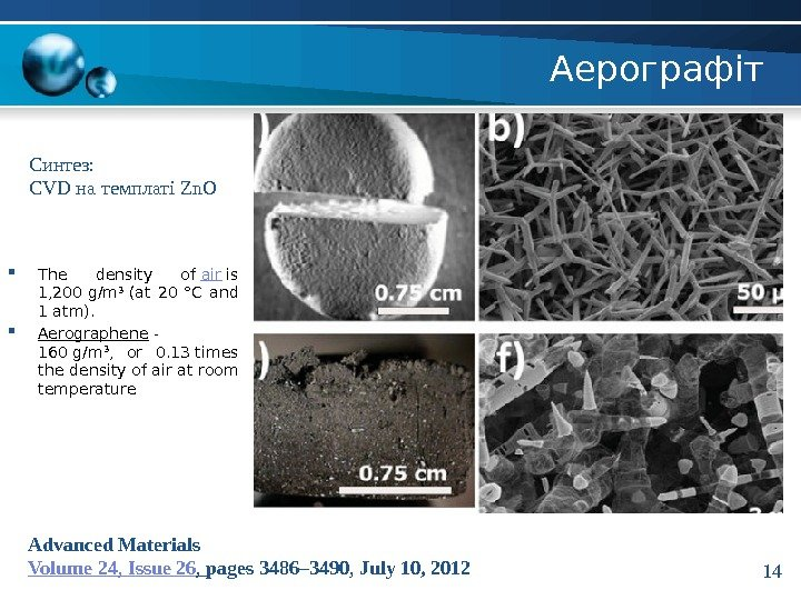 Аерографіт Advanced Materials Volume 24 ,  Issue 26 ,  pages 3486– 3490