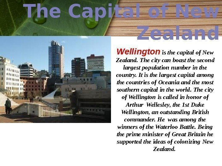 The Capital of New Zealand Wellington  is the capital of New Zealand. The