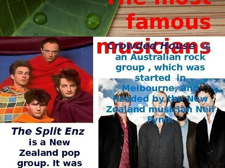 The most famous musicians The Split Enz  is a New Zealand pop group.