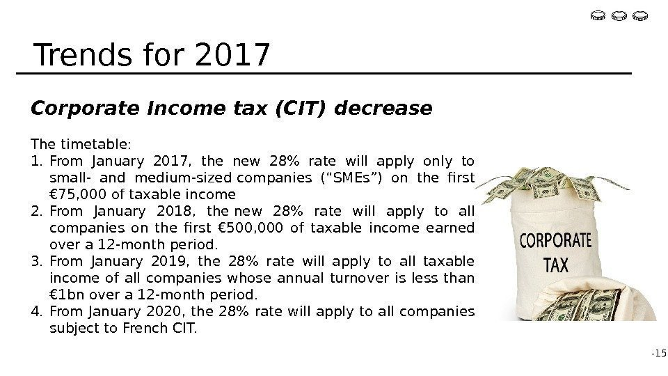 Corporate Income tax (CIT) decrease The timetable: 1. From January 2017,  the new
