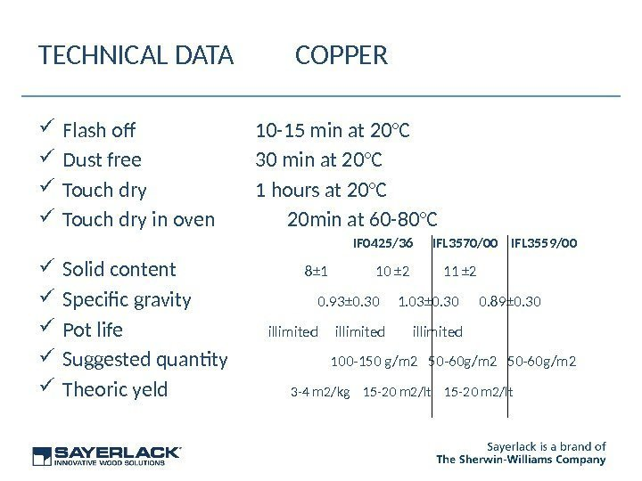 TECHNICAL DATA COPPER Flash of 10 -15 min at 20°C Dust free 30 min