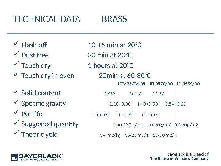 TECHNICAL DATA BRASS Flash of 10 -15 min at 20°C Dust free 30 min