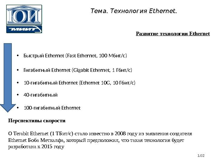 • Быстрый Ethernet (Fast Ethernet, 100 Мбит/с) • Гигабитный Ethernet (Gigabit Ethernet, 1