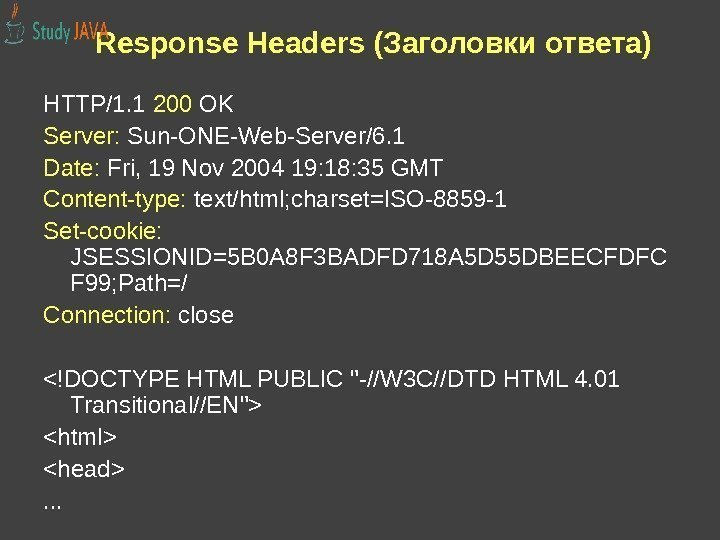 Response Headers (Заголовки ответа) HTTP/1. 1 200 OK Server:  Sun-ONE-Web-Server/6. 1 Date: