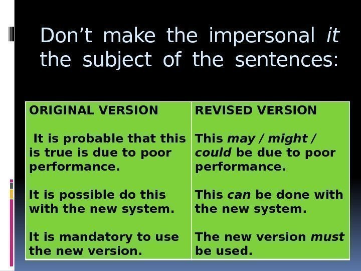 Don't make the impersonal it  the subject of the sentences: ORIGINAL VERSION