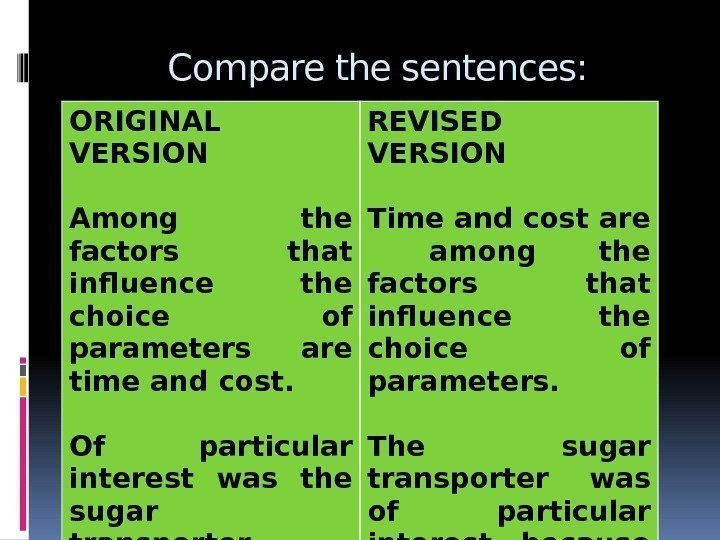 Compare the sentences: ORIGINAL VERSION Among the factors that influence the choice of parameters
