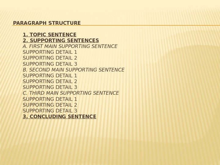 PARAGRAPH STRUCTURE 1. TOPIC SENTENCE 2. SUPPORTING SENTENCES А. FIRST MAIN SUPPORTING SENTENCE SUPPORTING