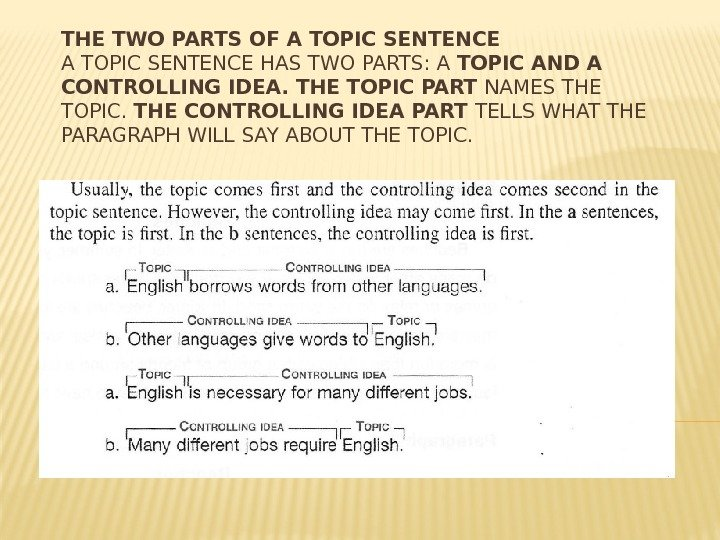 THE TWO PARTS OF A TOPIC SENTENCE HAS TWO PARTS: A TOPIC AND A