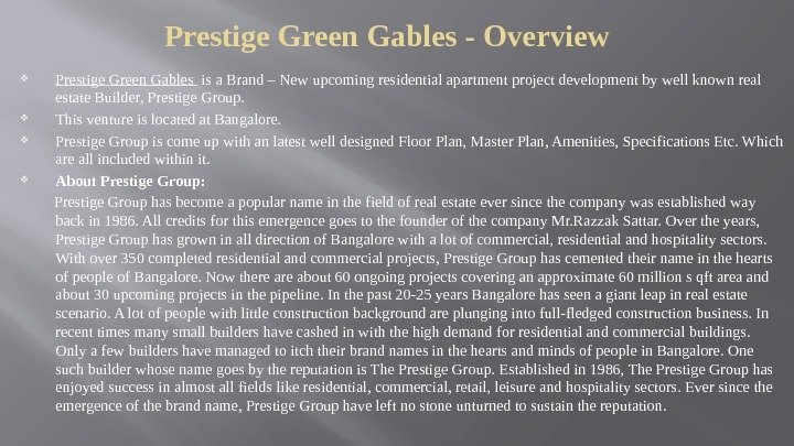Prestige Green Gables - Overview Prestige Green Gables  is a Brand – New