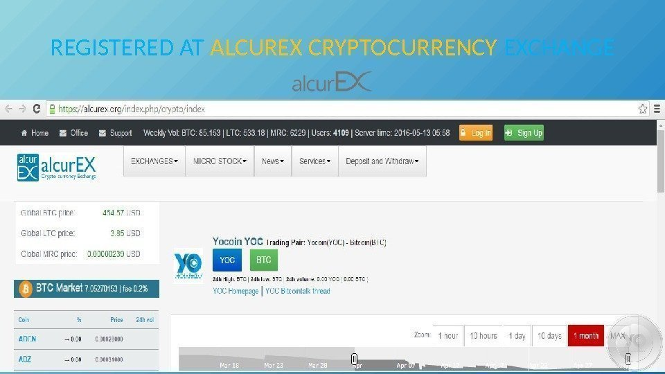 REGISTERED AT ALCUREX CRYPTOCURRENCY EXCHANGE