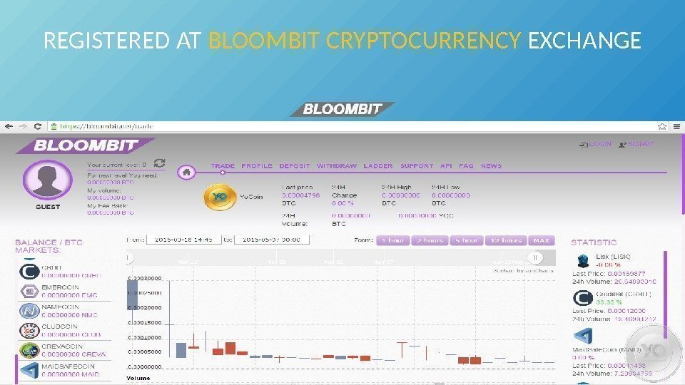 REGISTERED AT BLOOMBIT CRYPTOCURRENCY EXCHANGE