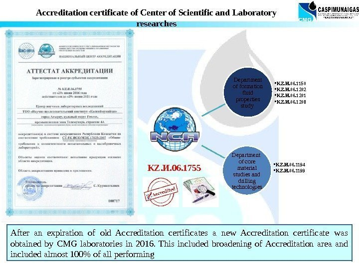 After an expiration of old Accreditation certificates a new Accreditation certificate was obtained by