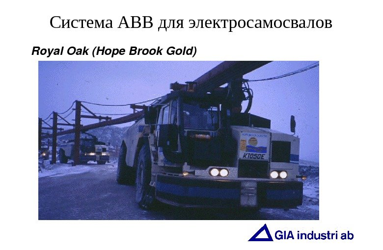 Система АВВ для электросамосвалов Royal. Oak(Hope. Brook. Gold)