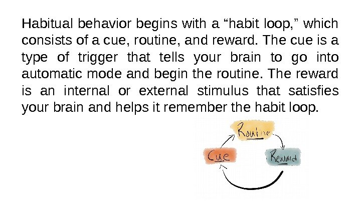 "Habitual behavior begins with a ""habit loop, "" which consists of a cue, routine,"