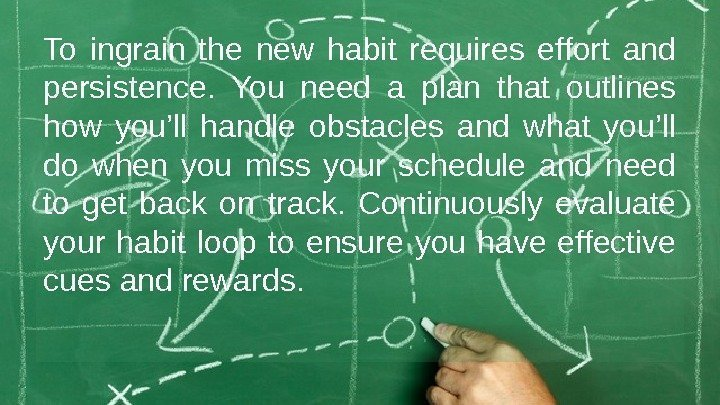 To ingrain the new habit requires effort and persistence.  You need a plan