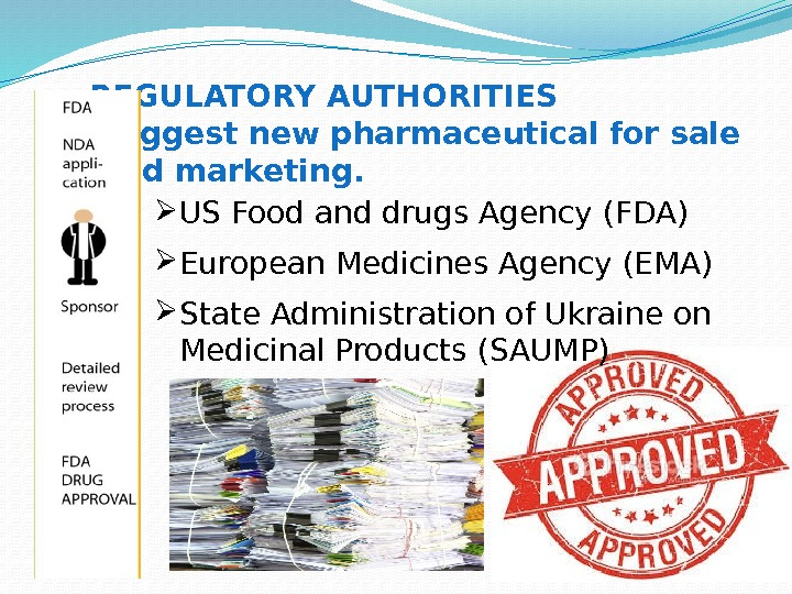 REGULATORY AUTHORITIES  suggest new pharmaceutical for sale  and marketing.  US Food