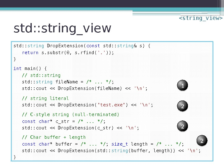 std: : string_view std: : string Drop. Extension( const std: : string & s)