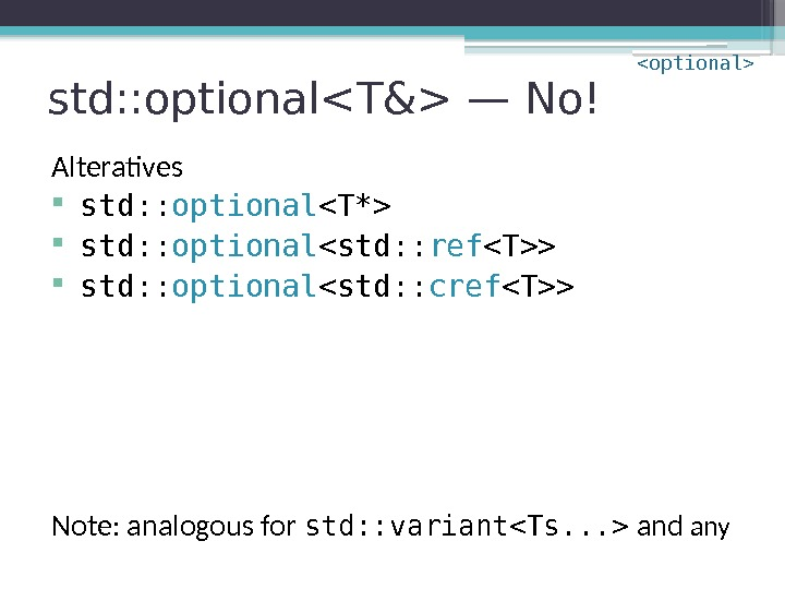 std: : optionalT& — No! Alteratives std: : optional T*  std: : optional