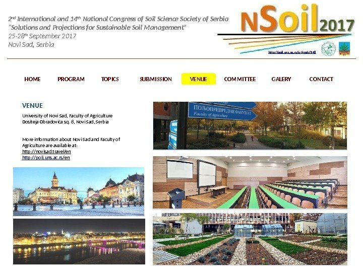 2 nd International and 14 th National Congress of Soil Science Society of Serbia
