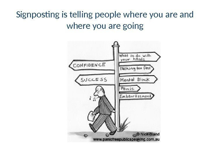 Signposting is telling people where you are and where you are going