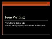 Free Writing From Gene Doty's site web. mst.