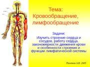 Тема: Кровообращение,  лимфообращение Задачи: Изучить строение сердца