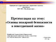 1 Презентация на тему:  «Основы пожарной безопасности