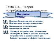 Тема 1. 4. Теория потребительского поведения Вопросы темы: