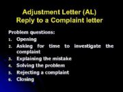 Adjustment Letter AL Reply to a Complaint letter