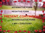 AFFIRMATIVE FORM NEGATIVE FORM PRESENT CONTINUOUS INTERROGATIVE FORM