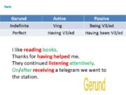 Verb I like reading books. Thanks for having