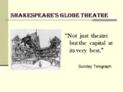 "Shakespeare's Globe Theatre ""Not just theatre but the"