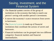Copyright © 2004 South-Western. Saving, Investment, and the