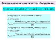 Основные показатели статистики оборудования Показатели использования оборудования по