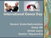 International Dance Day Student Emilia Rakhmatullina Group 106