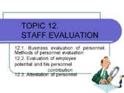 TOPIC 12. STAFF EVALUATION 12.1. Business evaluation of