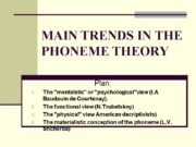 MAIN TRENDS IN THE PHONEME THEORY Plan: The