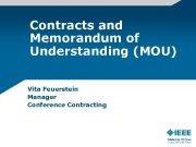 Contracts and Memorandum of Understanding MOU Vita Feuerstein