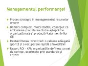 Managementul performanţei Proces strategic in managementul resurselor umane