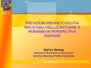 M E C PREVIZIUNI PRIVIND EVOLUTIA INDUSTRIEI PRELUCRATOARE