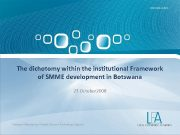 The dichotomy within the institutional Framework of SMME