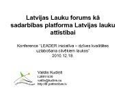 Latvijas Lauku forums kā sadarbības platforma Latvijas lauku