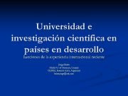 Universidad e investigación científica en países en desarrollo