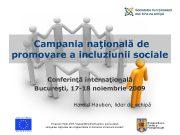 Campania naţională de promovare a incluziunii sociale Conferinţă