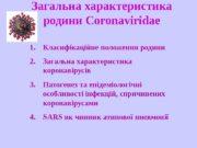 Загальна характеристика родини Coronaviridae 1. Класифікаційне положення родини
